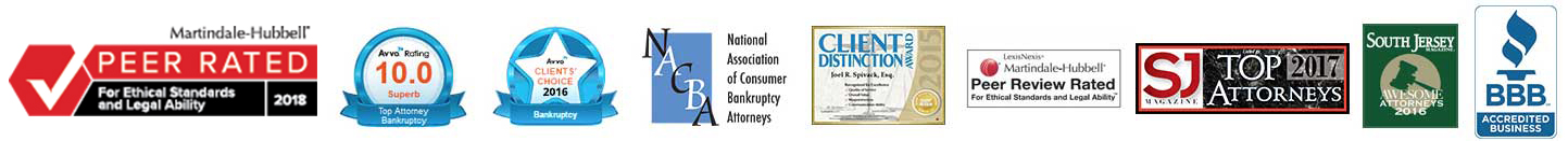 Awards logos from: Martindale-Hubbell, Peer Rated; Avvo Rating of 10.0; Avvo Client's Choice award 2016; National Association of Consumer Bankruptcy Attorneys; Client Distinction Award, 2015; LegalNews, Peer Review Rated for Ethical Standards and Legal Ability, SJ Magazine Top Attorneys in 2017, South Jersey Awesome Attorneys 2016, BBB Accredited Business