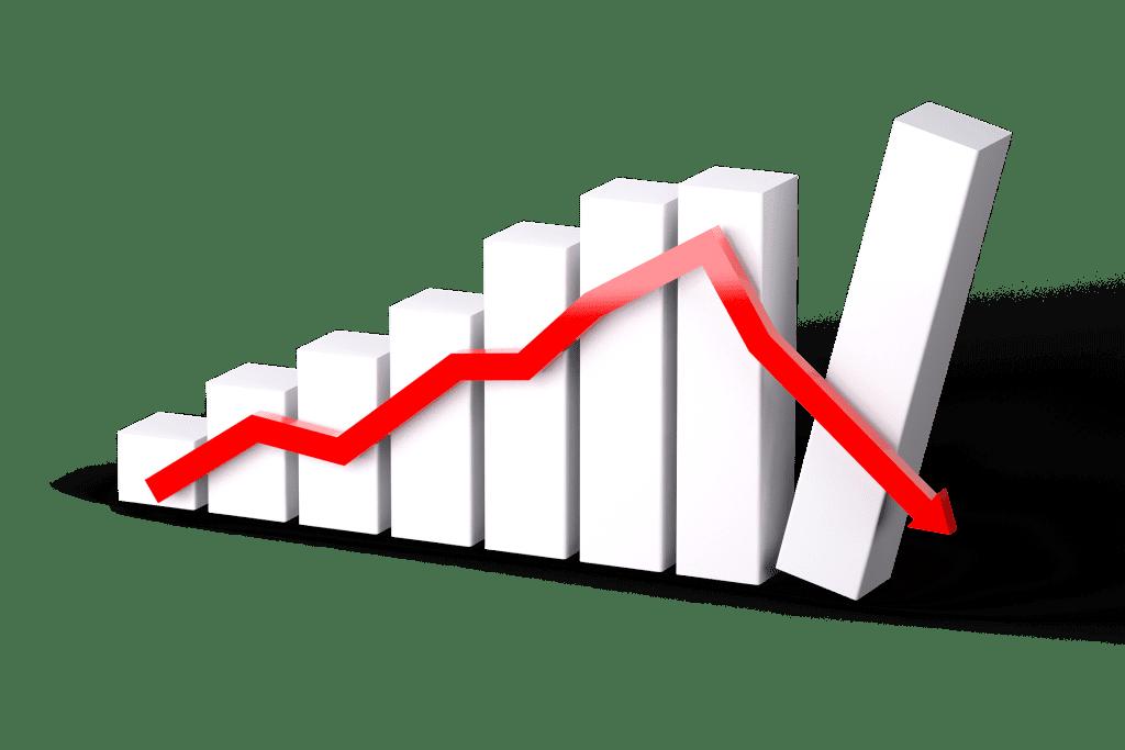 Picture of a graph representing a recession.