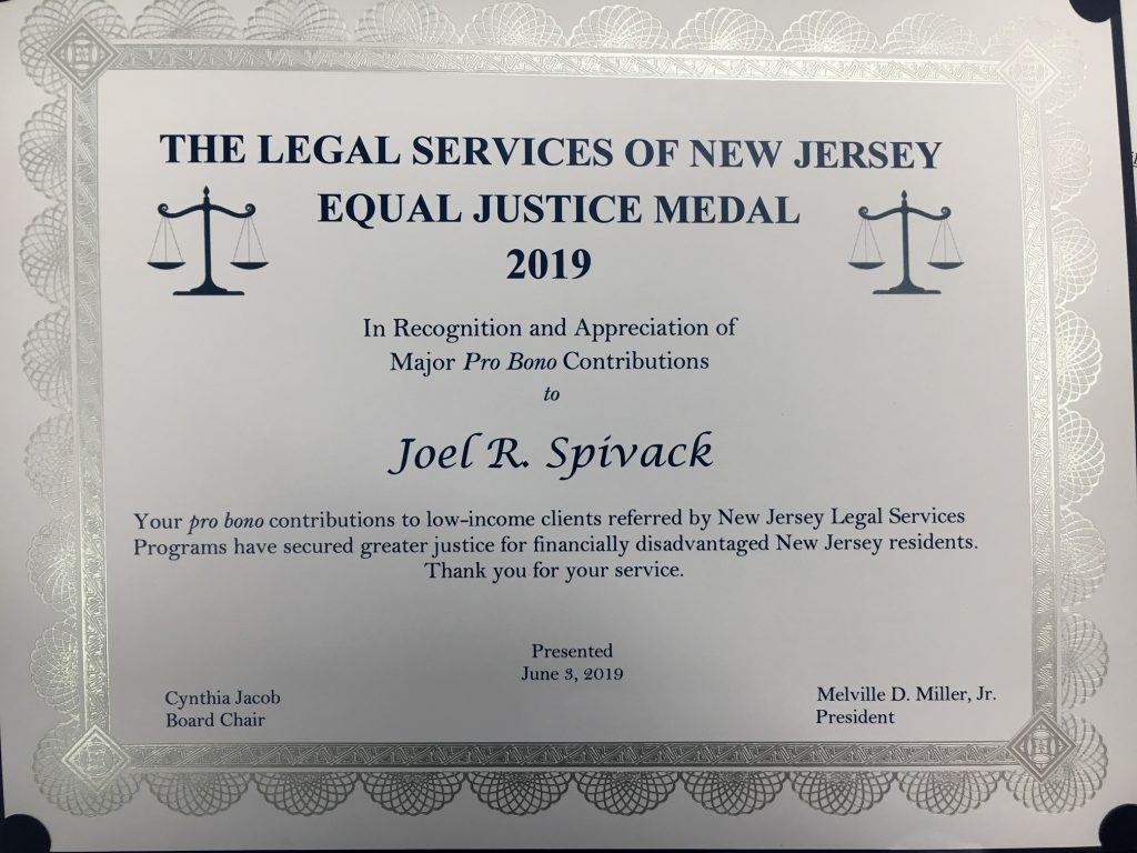 Picture of Joel R. Spivack's Legal Services of New Jersey 2019 Equal Justice Medal.